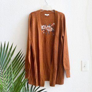 Mudd embroidered orange sweater floral